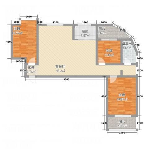 东润・公园壹号3室1厅1卫1厨137.00㎡户型图