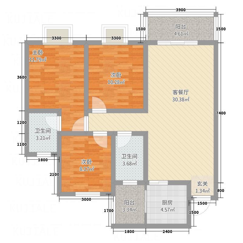 诺水明珠15.10㎡1号户型3室2厅2卫1厨