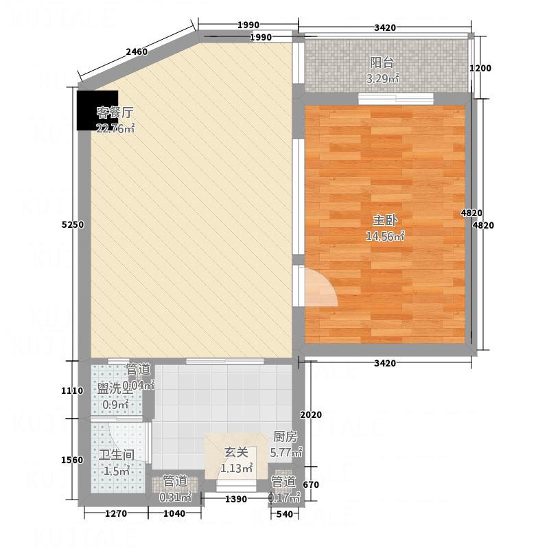 温泉假日公馆71.00㎡E户型1室1厅1卫1厨
