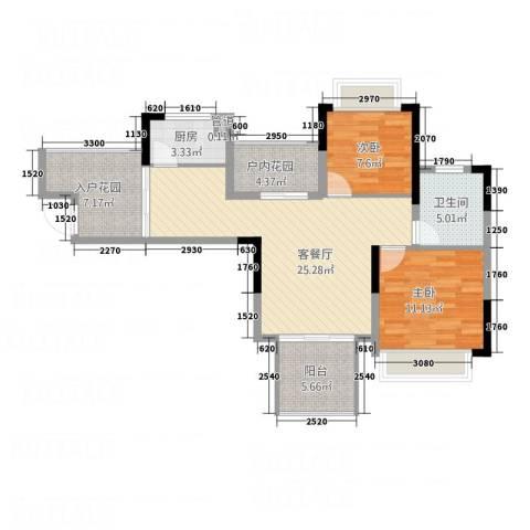凯光中央华府2室1厅1卫1厨69.68㎡户型图