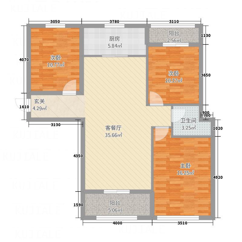 峰景1号126.62㎡2户型3室2厅2卫1厨