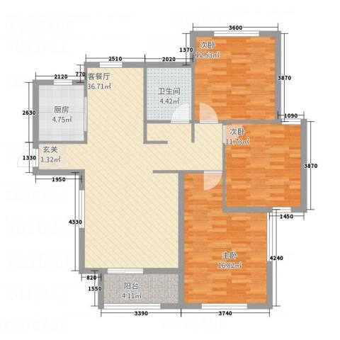 长安泰美御苑3室1厅1卫1厨128.00㎡户型图