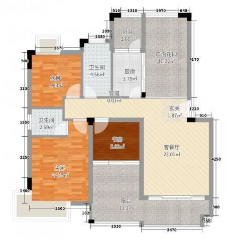 凯光中央华府3室1厅2卫1厨85.67㎡户型图
