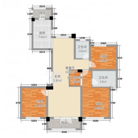 长安泰美御苑3室1厅2卫1厨138.00㎡户型图
