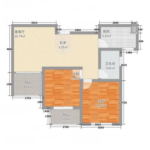 御品世家2室1厅1卫1厨134.00㎡户型图