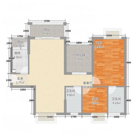 锦江盛世2室1厅2卫1厨109.00㎡户型图