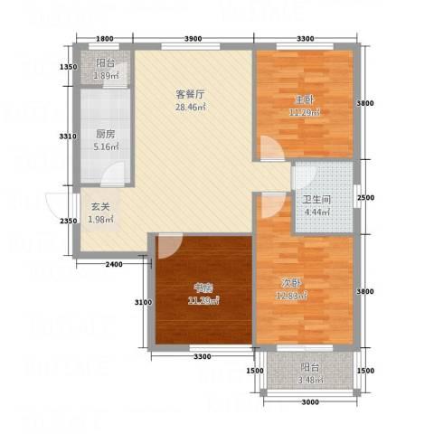 金垣置地3室1厅1卫1厨116.00㎡户型图