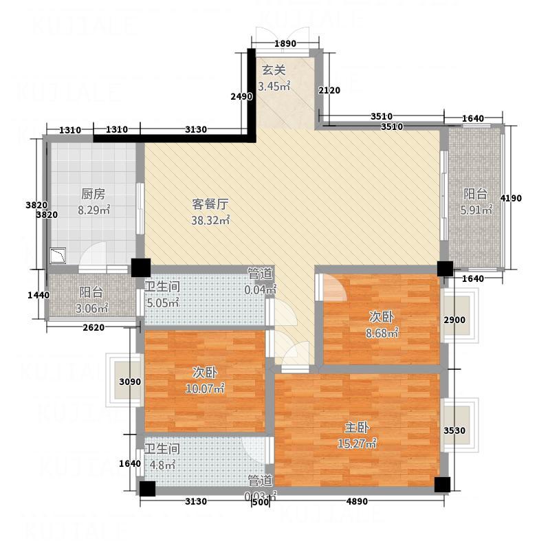 帝缘花园142.40㎡A4座5~10层02户型3室2厅2卫1厨