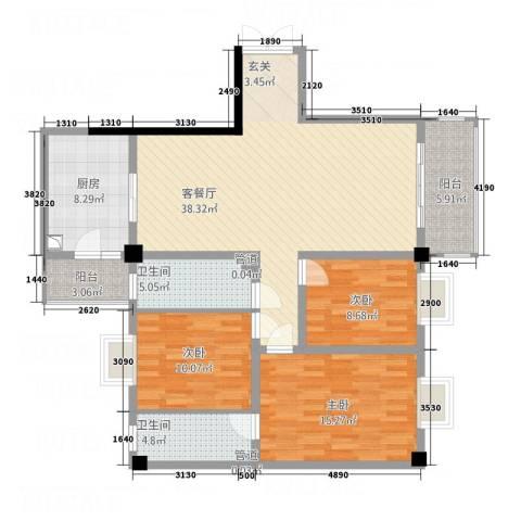 帝缘花园3室1厅2卫1厨142.00㎡户型图