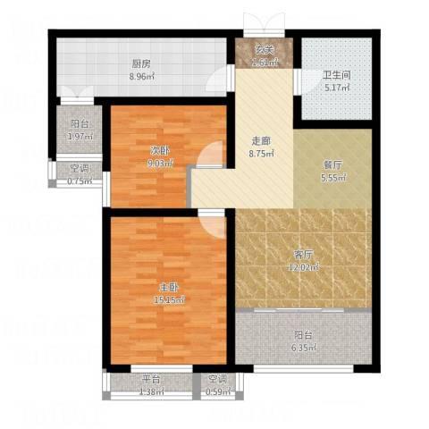 宇泰泰悦2室1厅1卫1厨112.00㎡户型图
