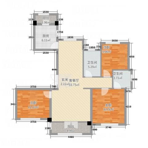 长安泰美御苑3室1厅2卫1厨128.00㎡户型图