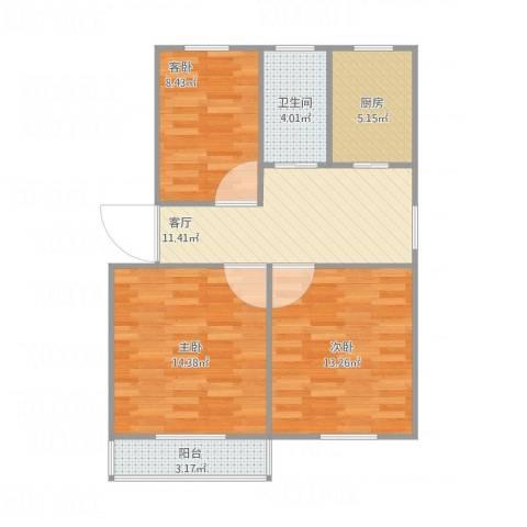 北门桥小区3室1厅1卫1厨81.00㎡户型图