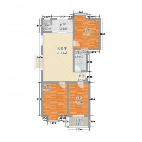 东润・公园壹号3室1厅1卫1厨76.47㎡户型图