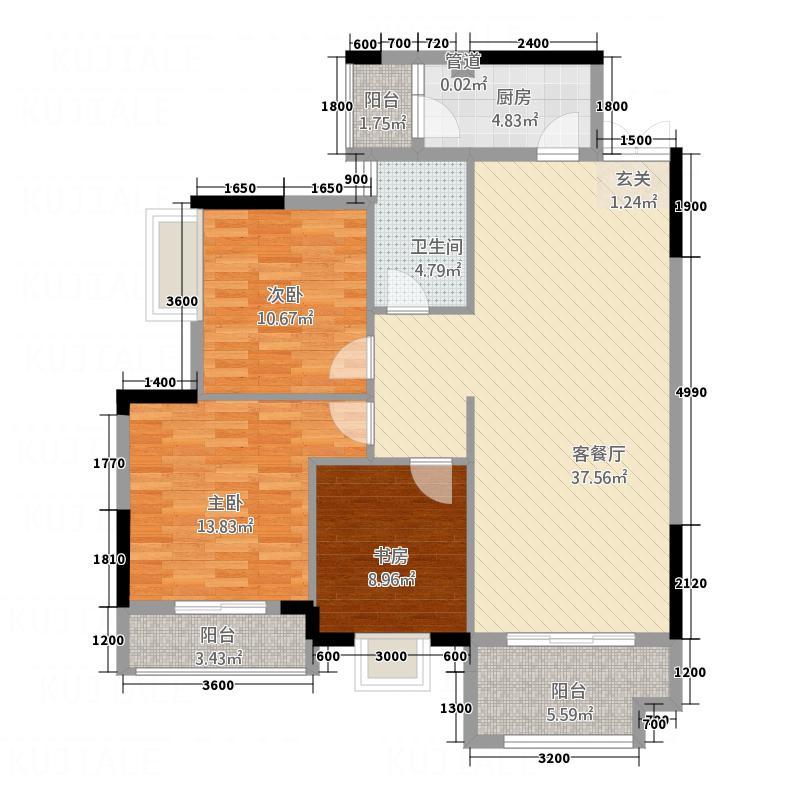 中元湘江翰林112.00㎡1#03户型3室2厅1卫1厨