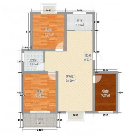东方华城3室1厅1卫1厨82.50㎡户型图