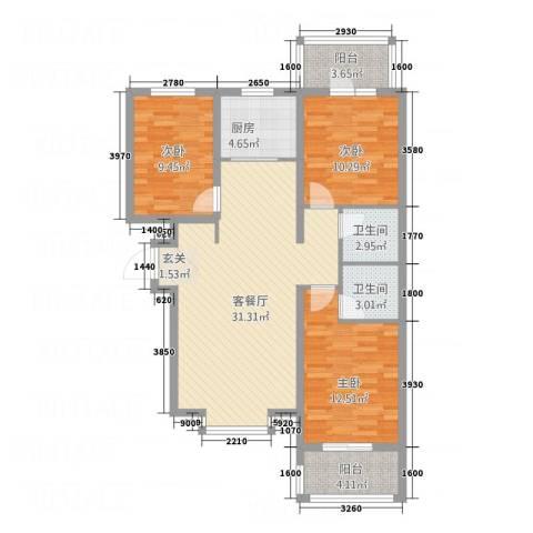 新华里188号3室1厅2卫1厨118.00㎡户型图