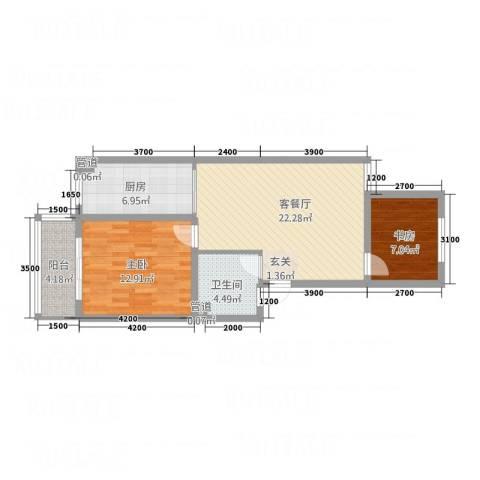 文红雅居2室1厅1卫1厨57.98㎡户型图