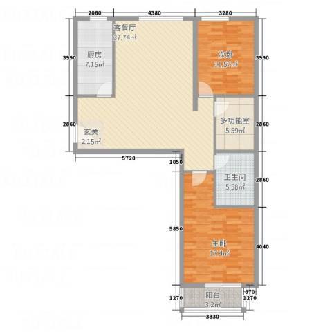 金垣置地2室1厅1卫1厨123.00㎡户型图