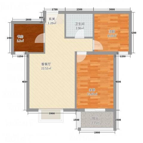 金垣置地3室1厅1卫0厨81.00㎡户型图