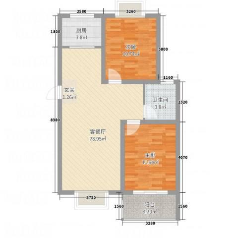 东方华城2室1厅1卫1厨72.00㎡户型图