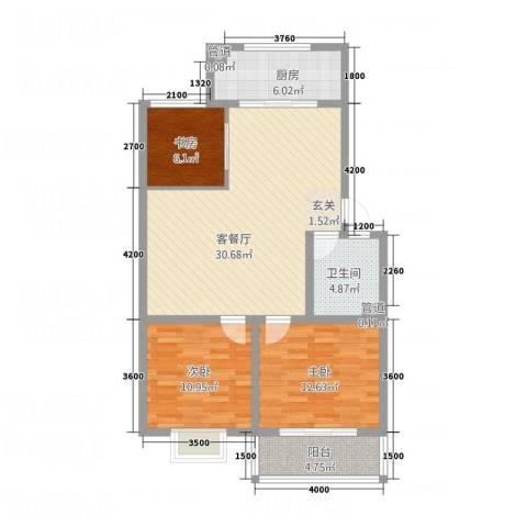 文红雅居3室1厅1卫1厨76.19㎡户型图