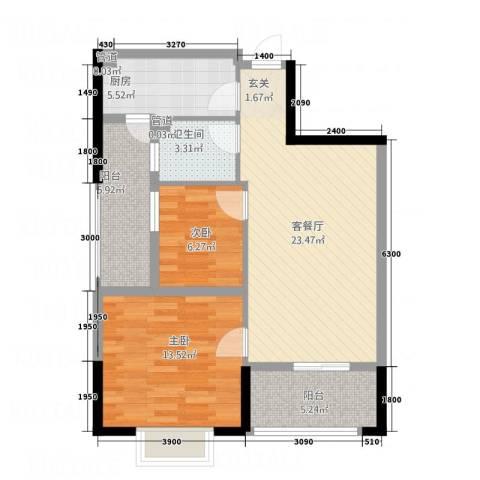 茶亭溪苑2室1厅1卫1厨91.00㎡户型图