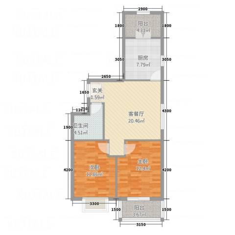 金垣置地2室1厅1卫1厨64.99㎡户型图