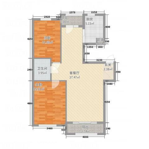 君悦国际城2室1厅1卫1厨79.72㎡户型图