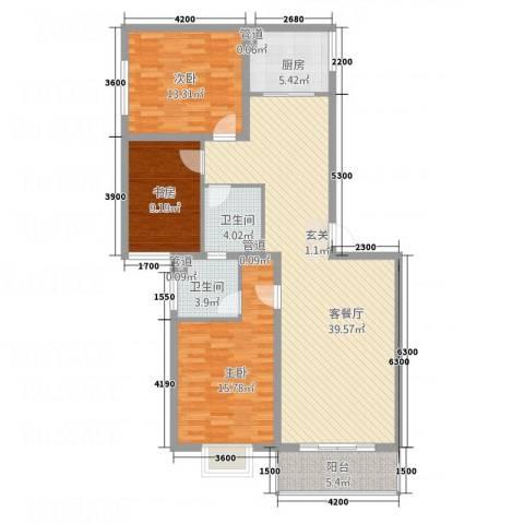 文红雅居3室1厅2卫1厨134.00㎡户型图