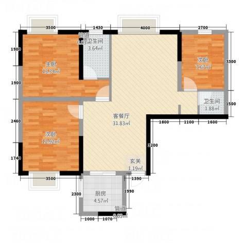 茶亭溪苑3室1厅2卫1厨108.00㎡户型图