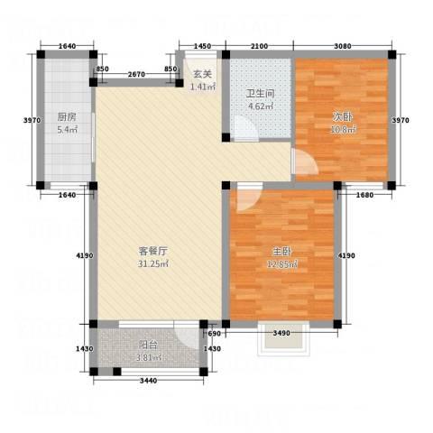 紫金东郡2室1厅1卫1厨68.72㎡户型图