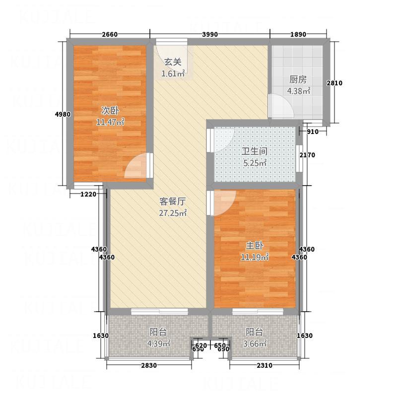 皇都花园1户型2室2厅1卫1厨