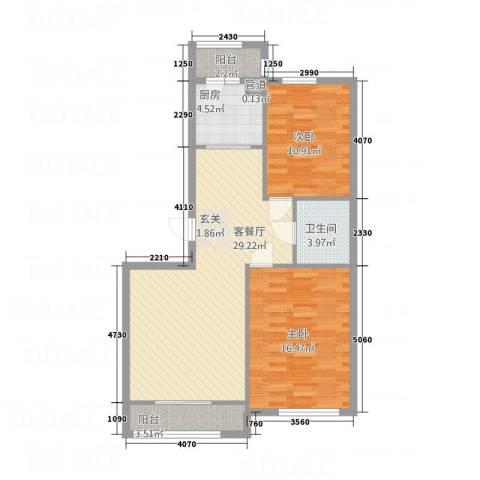 君悦国际城2室1厅1卫1厨70.93㎡户型图