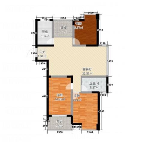 名仕佳园3室1厅1卫1厨127.00㎡户型图
