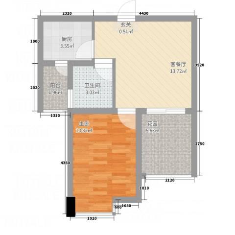名仕佳园1室1厅1卫1厨57.00㎡户型图