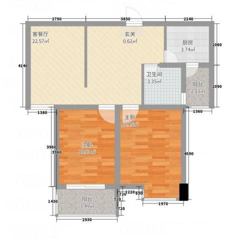 名仕佳园2室1厅1卫1厨83.00㎡户型图