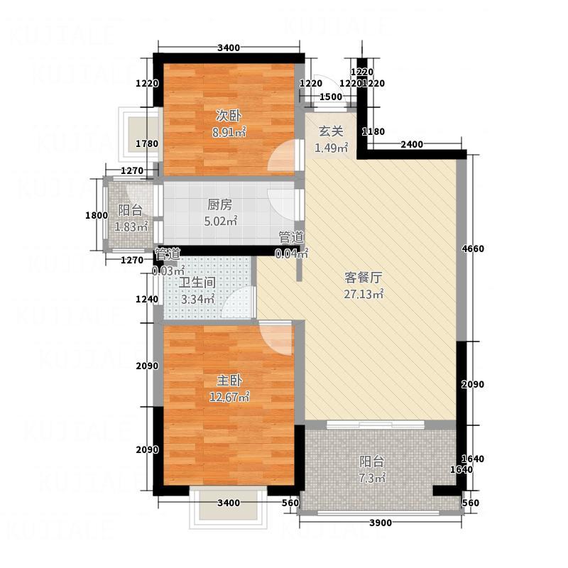 茶亭溪苑88.83㎡两居室户型2室2厅1卫1厨