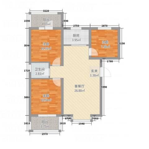 新华里188号3室1厅1卫1厨70.29㎡户型图