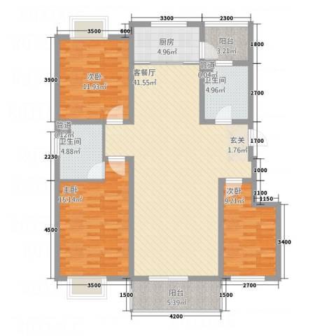 东润・公园壹号3室1厅2卫1厨128.00㎡户型图