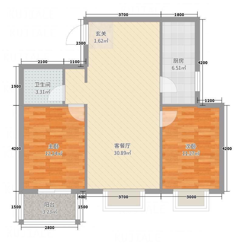 金垣置地户型2室2厅1卫1厨
