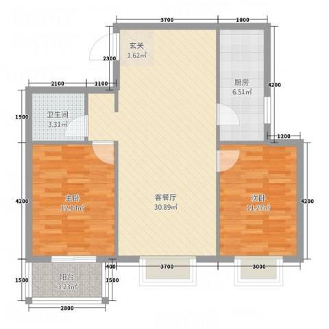 金垣置地2室1厅1卫1厨67.35㎡户型图