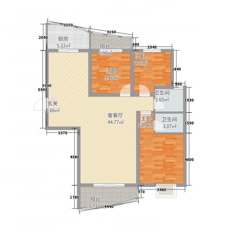 诚城紫郡135.37㎡G1户型3室2厅2卫