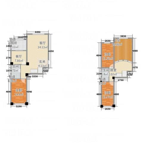 哈东上城3室2厅2卫1厨120.66㎡户型图