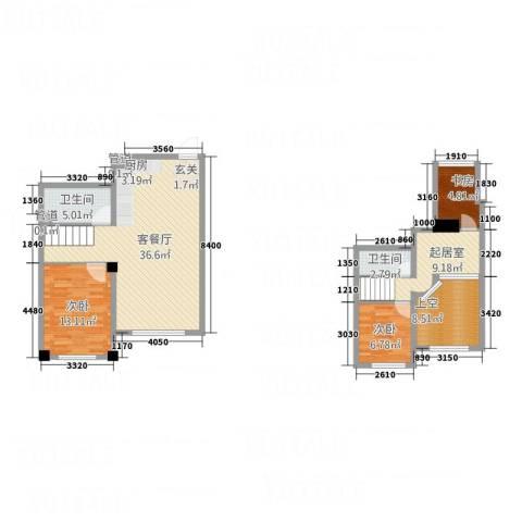 哈东上城3室1厅2卫0厨86.97㎡户型图