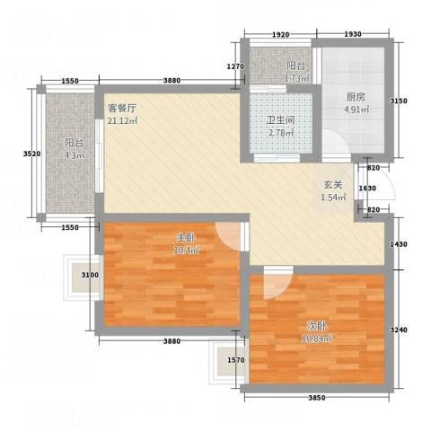 盛祥佳苑2室1厅1卫1厨83.00㎡户型图
