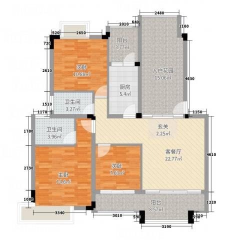 凯光中央华府3室1厅2卫1厨95.89㎡户型图