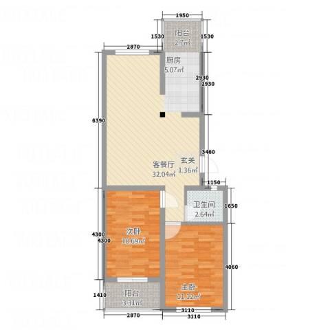 万和靓景2室1厅1卫0厨85.00㎡户型图