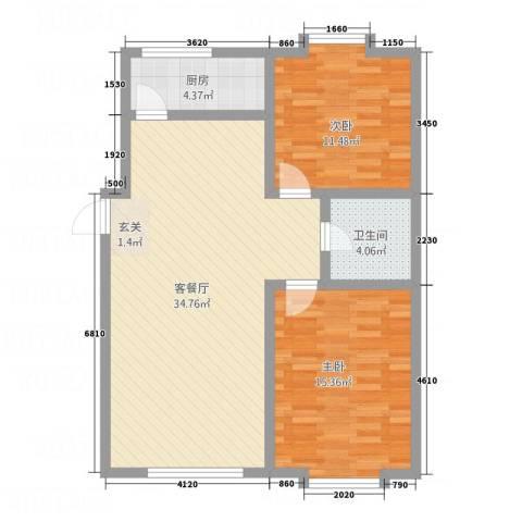 新地花园2室1厅1卫1厨82.00㎡户型图