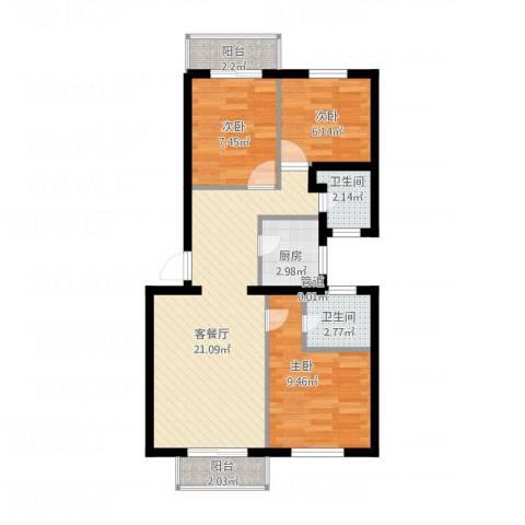 香江世纪名城3室1厅2卫1厨82.00㎡户型图