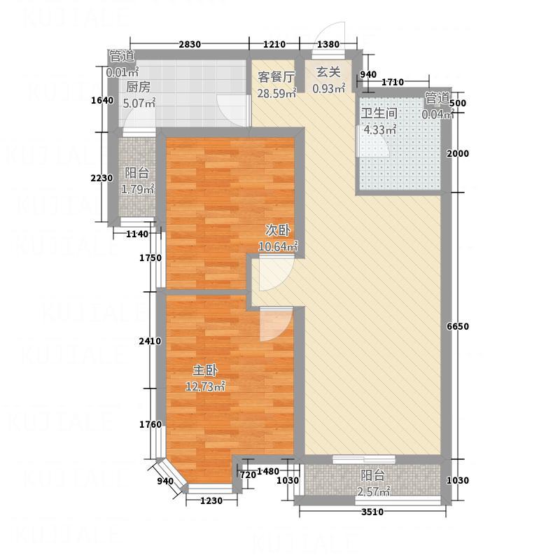 巅峰国际A1户型2室2厅1卫